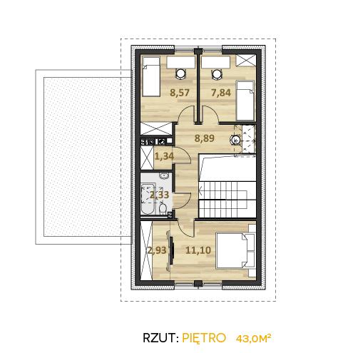 rzut piętra projektu swiss pracowni współczesne domy