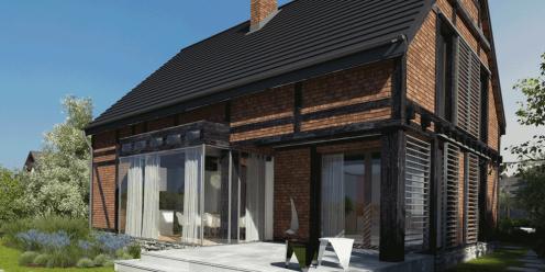 alzacja projekt katalogowy współczesne domy widok od ogrodu 1
