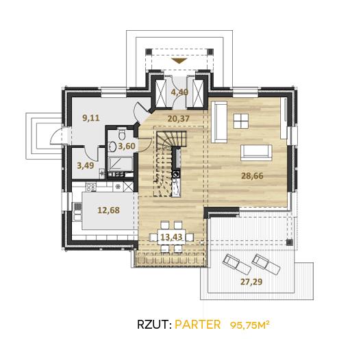 alzacja projekt katalogowy współczesne domy rzut parteru