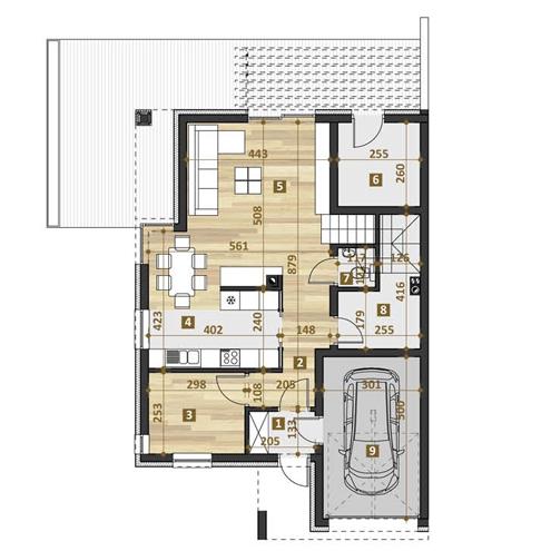 TWINS projekt współczesne domy, dom katalogowy rzut parteru