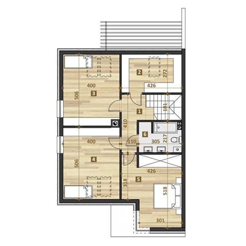 TWINS projekt współczesne domy, dom katalogowy rzut piętra